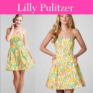 Lilly Pulitzer Wyatt Strapless Sunflower Dress